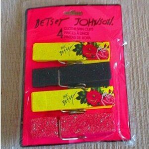 Betsey Johnson Clothespin Clips NEW Yellow Floral